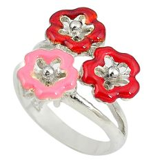 Multi color enamel 925 sterling silver flower ring jewelry size 7.5 a73602