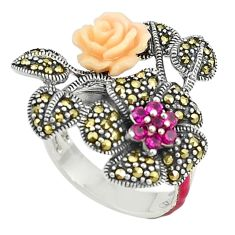 Red ruby quartz marcasite enamel 925 silver flower ring size 7.5 a73606