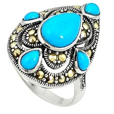Blue sleeping beauty turquoise marcasite 925 silver ring size 5.5 a73684