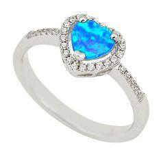 Blue australian opal (lab) topaz 925 sterling silver ring size 7.5 a74409