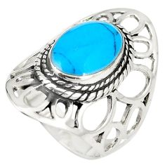 5.63gms fine blue turquoise enamel 925 sterling silver ring size 5.5 a74854
