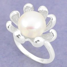 925 sterling silver natural white pearl round ring jewelry size 9 a75340