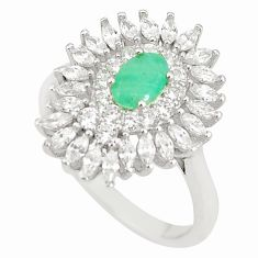 Natural green emerald topaz 925 sterling silver ring size 7.5 a75422
