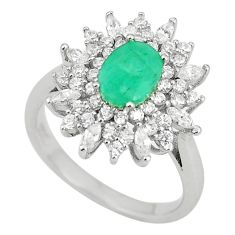 Natural green emerald topaz 925 sterling silver ring size 6 a75454