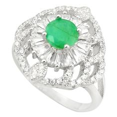 Natural green emerald topaz 925 sterling silver ring size 6.5 a75481
