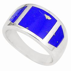 Blue lapis lazuli enamel 925 sterling silver ring jewelry size 6 a75949