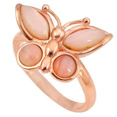Natural pink opal 925 silver 14k rose gold butterfly ring size 8 a76241