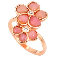 925 sterling silver natural pink opal topaz 14k rose gold ring size 8 a76257