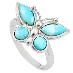 Natural blue larimar 925 sterling silver butterfly ring size 7.5 a76496