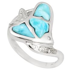 Natural blue larimar topaz 925 sterling silver fish ring size 7 a76497