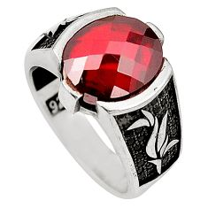 Red garnet quartz topaz 925 sterling silver mens ring size 8 a77272