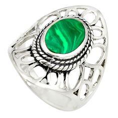 Green malachite (pilot's stone) 925 silver ring jewelry size 8.5 a77384