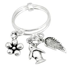 Indonesian bali style solid 925 sterling silver flower 3 rings size 4 a78012
