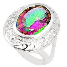 Multi color rainbow topaz 925 sterling silver ring jewelry size 6 a78403