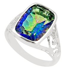Multi color rainbow topaz 925 sterling silver ring jewelry size 8 a78433