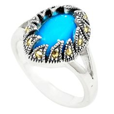 Blue sleeping beauty turquoise marcasite 925 silver ring size 8.5 a78935