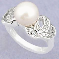 Natural white pearl topaz 925 sterling silver ring jewelry size 7.5 a79615