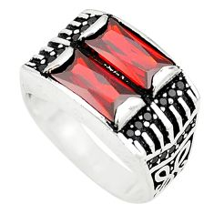 925 sterling silver red garnet quartz topaz mens ring size 8 a80650