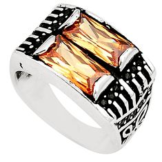Champagne topaz quartz topaz 925 silver mens ring jewelry size 8.5 a80745