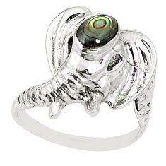 Natural green abalone paua seashell 925 silver elephant ring size 7.5 a80787