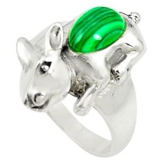 925 silver natural green malachite (pilot's stone) ring jewelry size 7 a80814