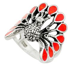 925 sterling silver red coral enamel peacock ring jewelry size 6.5 a80856