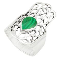 925 silver green malachite (pilot's stone) hand of god hamsa ring size 7 a80887