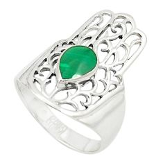 Green malachite (pilot's stone) 925 silver hand of god hamsa ring size 7 a80896