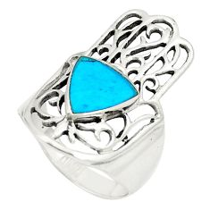 925 silver fine blue turquoise hand of god hamsa ring jewelry size 6 a80918