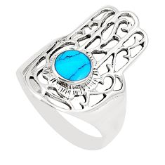Fine blue turquoise 925 silver hand of god hamsa ring size 9 a80954