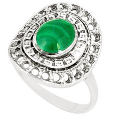 Natural green malachite (pilot's stone) 925 silver ring size 8.5 a80990