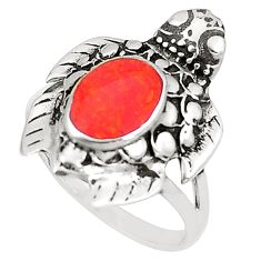 Red coral 925 sterling silver tortoise ring jewelry size 8 a80993