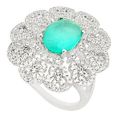 Natural aqua chalcedony topaz 925 sterling silver ring size 5.5 a81155