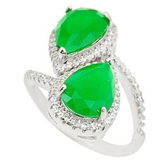 Green emerald quartz topaz 925 silver adjustable ring jewelry size 7 a81190