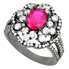Red ruby quartz topaz rhodium 925 sterling silver ring jewelry size 7 a81201