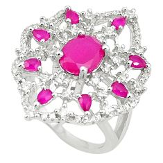 925 sterling silver red ruby quartz white topaz ring jewelry size 8 a81217