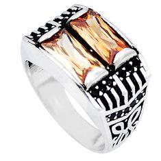 Champagne topaz quartz topaz 925 silver mens ring jewelry size 8.5 a83035