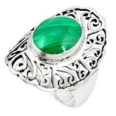 Natural green malachite (pilot's stone) 925 silver ring size 6.5 a83187