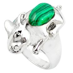 925 sterling silver natural green malachite (pilot's stone) ring size 6.5 a83200