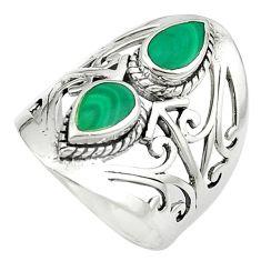Natural green malachite (pilot's stone) 925 silver ring size 6.5 a84230