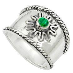 Green malachite (pilot's stone) 925 silver ring jewelry size 8 a84262
