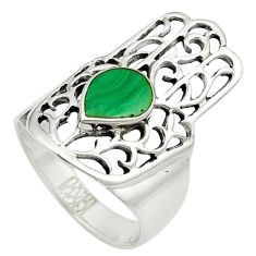 Green malachite (pilot's stone) 925 silver hand of god ring size 6.5 a84268