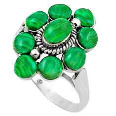 Natural green malachite (pilot's stone) 925 silver ring size 9.5 a84275