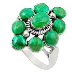 Natural green malachite (pilot's stone) 925 silver ring size 5.5 a84276