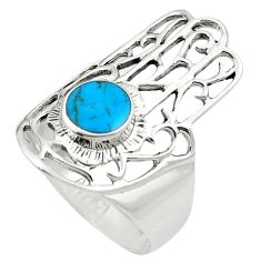 Fine blue turquoise enamel 925 silver hand of god hamsa ring size 9 a84292