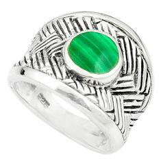 Green malachite (pilot's stone) 925 sterling silver ring size 5.5 a84309