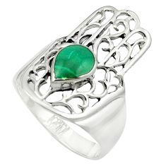 Green malachite (pilot's stone) 925 silver hand of god ring size 9.5 a84319