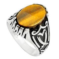 Natural brown tiger's eye 925 sterling silver mens ring size 8.5 a84566
