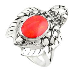 Red coral enamel 925 sterling silver tortoise ring jewelry size 7 a84696