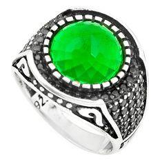 925 sterling silver green emerald quartz topaz mens ring size 9.5 a84745